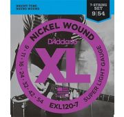 D`Addario EXL120-7 XL NICKEL WOUND Струны для 7-струнной электрогитары Super Light 7-String 9-52 EXL120-7
