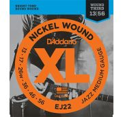 D'Addario EJ22 XL NICKEL WOUND Струны для электрогитары Jazz Medium 13-56