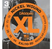 D'Addario EXL110-3D Nickel Wound Струны для электрогитары, Regular Light, 10-46, 3 комплекта