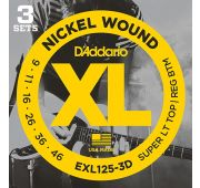 D'Addario EXL125-3D Nickel Wound Струны для электрогитары, SuperLightTop/Regular Bottom 9-46, 3компл